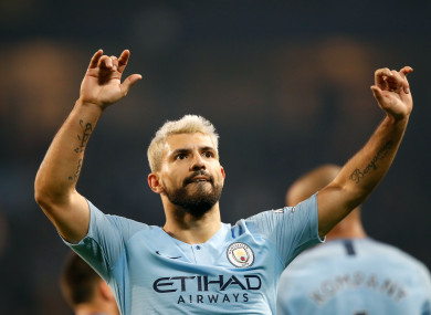 Sergio Aguero celebrates the decisive goal.