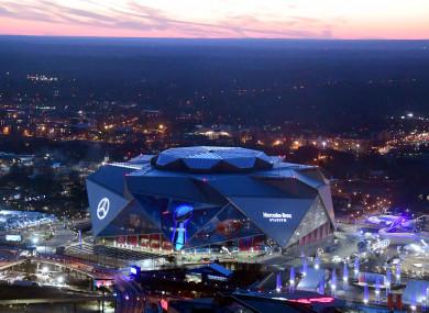 General overall aerial view of Mercedes-Benz Stadium in Atlanta, Georgia.