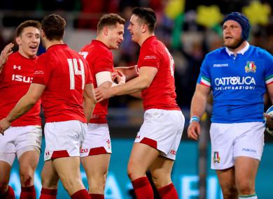 Wales celebrate Owen Watkin's try in Rome.