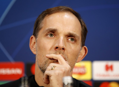 Paris Saint Germain manager Thomas Tuchel during the press conference at Old Trafford.