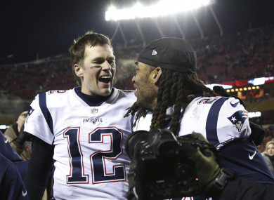 Tom Brady celebrates with Stephon Gilmore after defeating the Kansas City Chiefs.