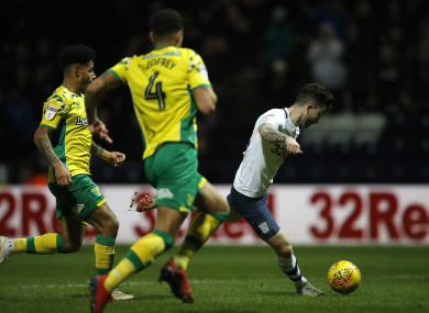 Maguire scoring his side's third goal against Norwich.