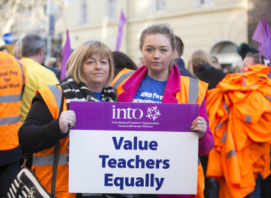 Pictured Niamh Walsh with her daughter teacher Monica Walsh at a protest in March 2018.