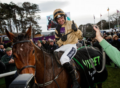 Ruby Walsh celebrates winning with Bellshill at Leopardstown today.
