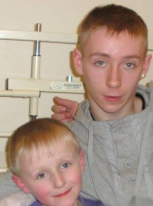 Shane Skeffington Jr (Grey Hoody) and his younger brother Brandon (Purple T-shirt)