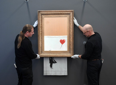 The shredded Banksy painting is hung in the Frieder Burda Museum