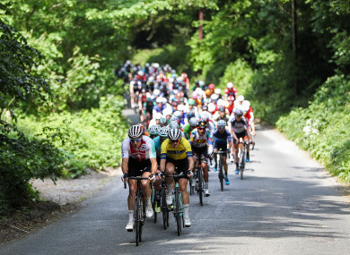 Cyclists approaching Tinahely last year.