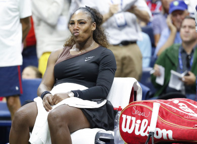 Serena Williams reacts during after receiving a game penalty at the US Open Women's Final last year