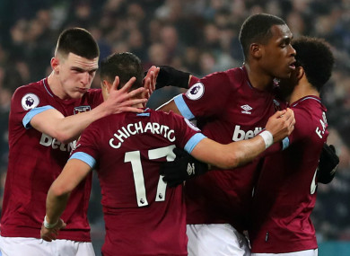 West Ham celebrate Javier Hernandez's goal.