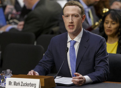 Facebook CEO Mark Zuckerberg testifies before the United States Senate on Capitol Hill about the Cambridge Analytica scandal in April 2018.