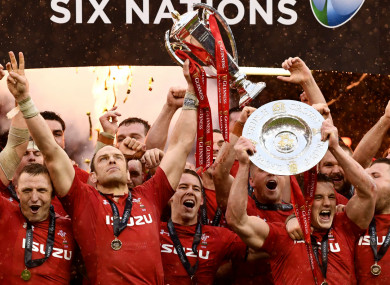 Wales celebrate their Grand Slam triumph last weekend.