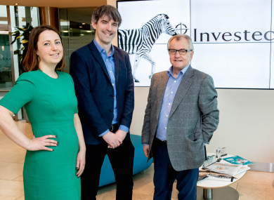 Niall Kelly, deputy editor of The42, accepting the inaugural Investec 20x20 Media Award on behalf of Eoin O'Callaghan, with judging panel chair, Anna Kessel and Michael Cullen, Investec CEO.