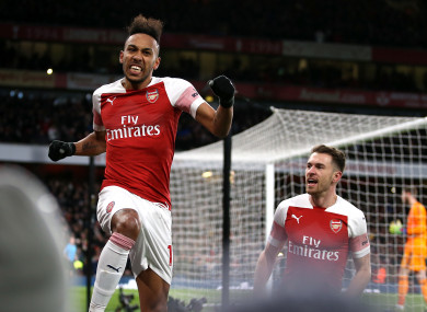 Aubameyang celebrates scoring from the penalty spot.
