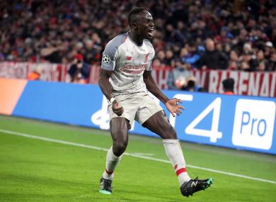 Sadio Mane celebrates a goal.