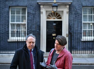 DUP deputy leader Nigel Dodds and DUP Leader Arlene Foster in Downing Street.
