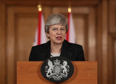 Prime Minister Theresa May making a statement about Brexit in Downing Street this evening