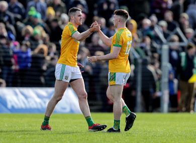 Bryan Menton and Darragh Campion celebrate Meath's promotion from Division Two.
