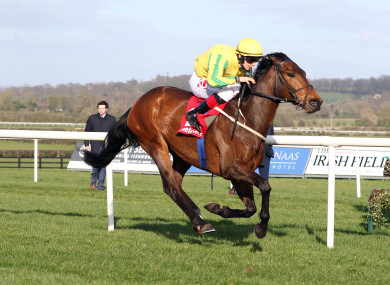 Colin Keane on board Karayaan comes home to win at Naas last Sunday.