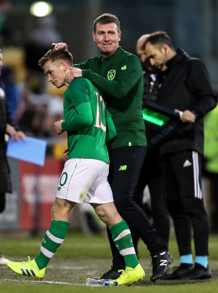 Connor Ronan and Ireland manager Stephen Kenny.