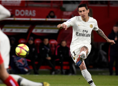 Angel Di Maria scores a free-kick at Dijon.