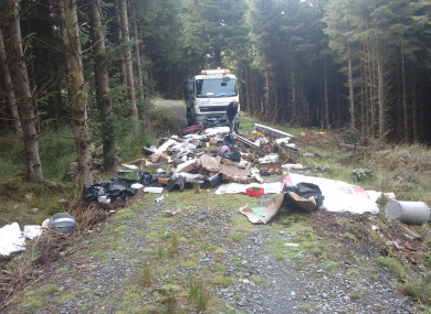 File photo of illegally dumped waste in the Wicklow Mountains in January.
