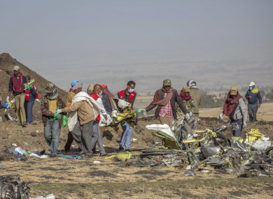 Rescue workers at Bishoftu, where Ethiopian Airlines Flight 302 crashed on Sunday