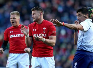 Gareth Anscombe and Dan Biggar celebrate at the full-time whistle.