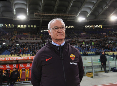 Ranieri took his place in the Roma dugout tonight.
