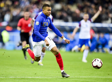 Kylian Mbappe in action for France.