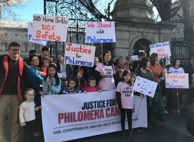 Supporters of Philomena Canning outside the Dáil on 26 February