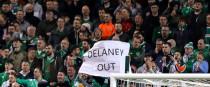Ireland fans protest over FAI Executive Vice President John Delaney.