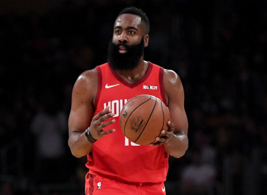 On fire: James Harden.