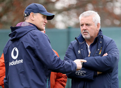 Schmidt speaking with Gatland when he visited Ireland training as Lions coach.