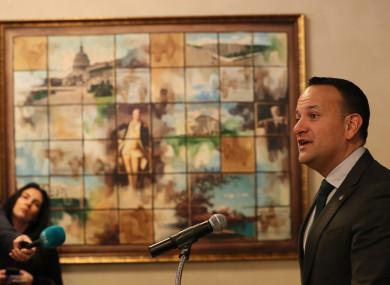 Taoiseach Leo Varadkar speaking to the media in Washington DC today