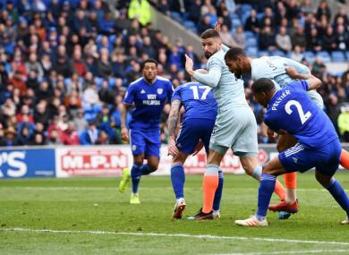 Ruben Loftus-Cheek heads in Chelsea's winner at Cardiff City.
