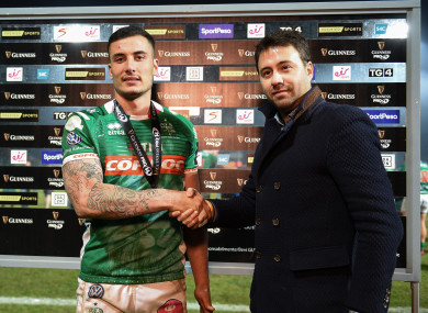 Marco Zanon receives the man-of-the-match award after Benetton's win against Scarlets in the Pro14 last month.