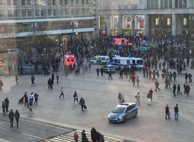 Police breaking up the brawl in Alexanderplatz