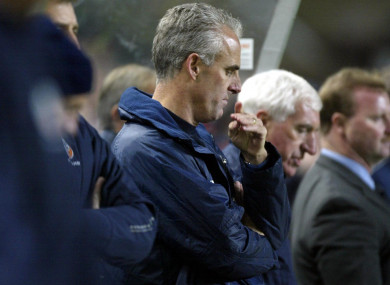 A dejected Mick McCarthy during what proved to be the final game of his first reign.