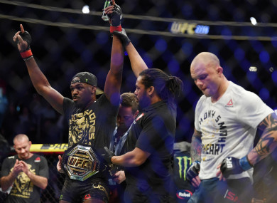 Jon Jones with the belt.