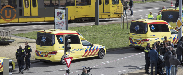 Ambulances seen next to a tram after a shooting in Utrecht