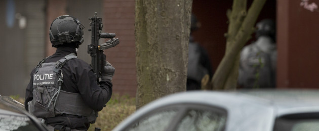Dutch counter terrorism police prepare to enter a house after a shooting incident in Utrecht, Netherlands