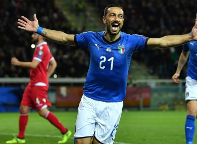 Quagliarella celebrates against Liechtenstein.
