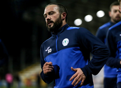 Finn Harps' Raffael Cretaro during the warm-up prior to a recent Shamrock Rovers match.