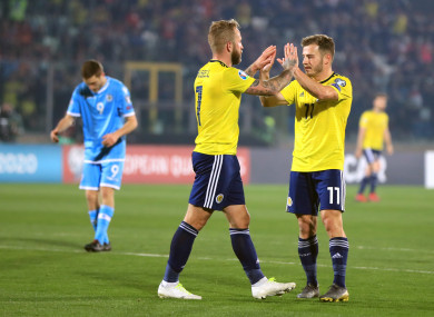 Scotland's Johnny Russell celebrates scoring his side's second goal