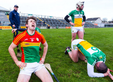 Sean Whelan celebrates the win while Pat Camon and Sean Dolan come to terms with Offaly's relegation.