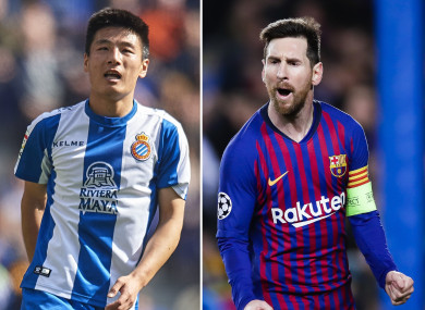 Wu Lei and Lionel Messi.