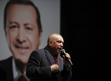 Turkey's President Recep Tayyip Erdogan addresses the supporters of his ruling Justice and Development Party, in Istanbul yesterday.