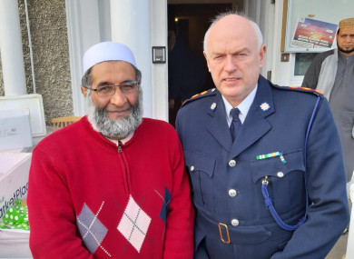 Chief Superintendent Finbarr Murphy with Abdul Karim at Damestown Mosque in Dublin today.