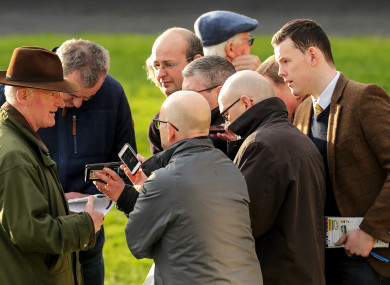 Willie Mullins speaking to the media at Leopardstown.