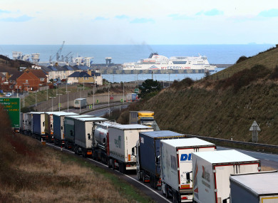 Lorries on the A20 in Dover, Kent (file photo)